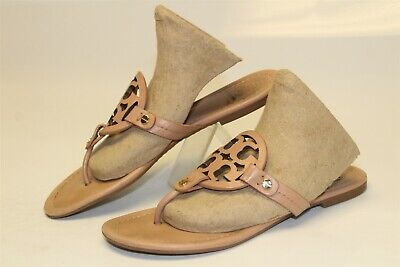 Tory Burch Womens 6 M Miller Natural Leather Sandals Slides Flats Shoes
