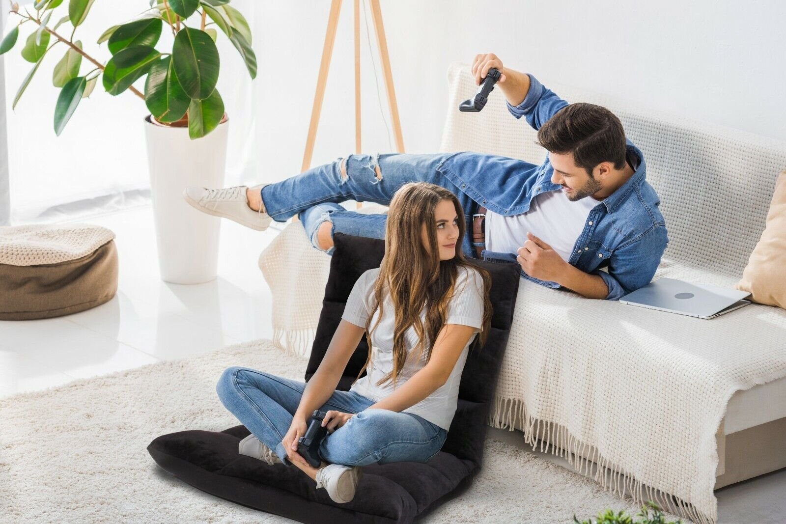 black floor gaming sofa adjustable chair