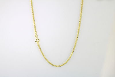 14K Yellow Gold Diamond Cut Womens Dainty 1.5mm Rope Chain Pendant Necklace 18""