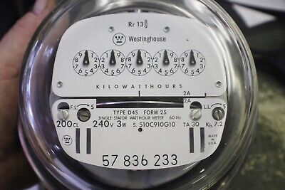 00000 Zero Reset Westinghouse Electric 200cl Watthour Meter 240v D4s 200a