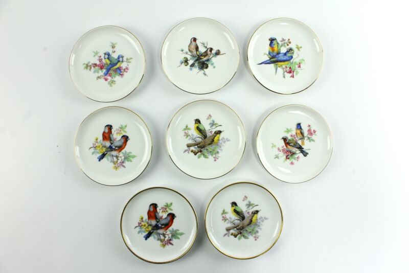 "Vintage Kaiser 4"" Bird Porcelain Pin Butter Pat Dish Set West Germany"
