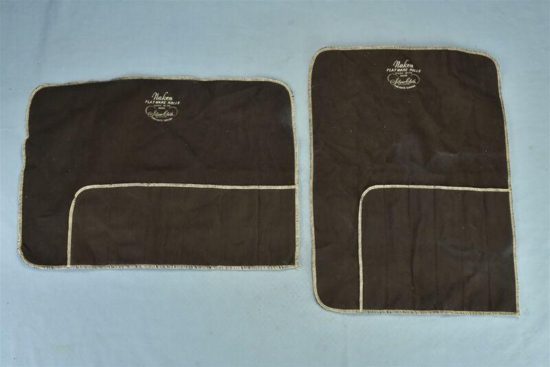Vintage LOT of 2 ANTI TARNISH BAG POUCH SILVER NAKEN FLATWARE 6 SECTION #00385
