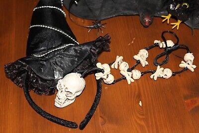 Kostüm und Party Set Hexe Halloween Verkleiden Dekorieren schwarzer Hut Kette