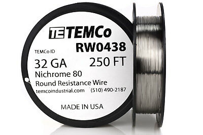 Temco Nichrome 80 Series Wire 32 Gauge 250 Ft Resistance Awg Ga