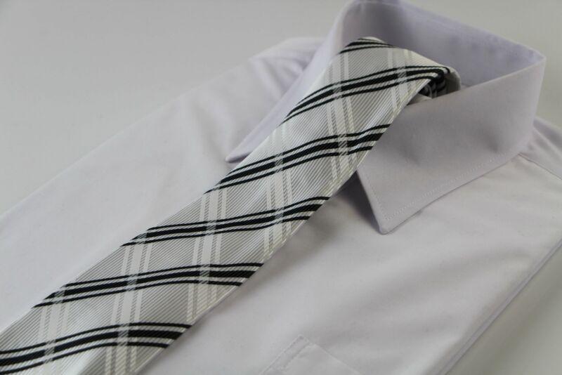 Mens White & Black Striped Plaid Patterned 8cm Neck Tie