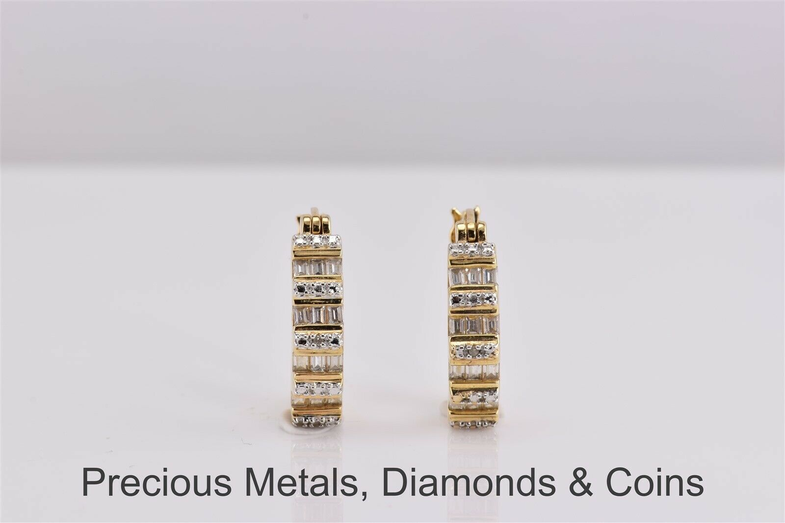 20mm 18k Gold Plated CZ Stone Accented Hoop Earrings,
