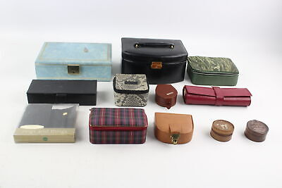 12 x Assorted Vintage JEWELLERY BOXES & ROLLS Inc Osprey, Leather, Gents Etc