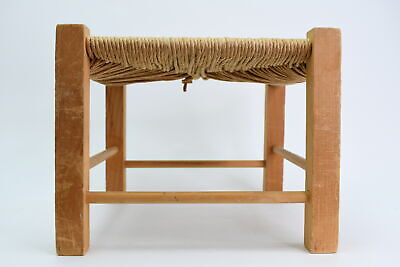 Vintage Short Wooden Foot Stool With Fiber Rush Seat/Top & Dowel Side Supports