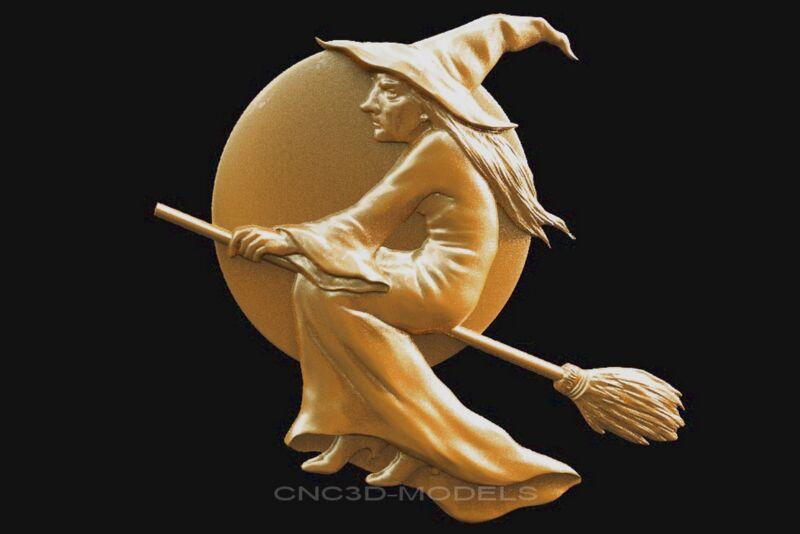 3D STL Models for CNC Router Engraver Carving Artcam Aspire Witch Hag Broom 1671