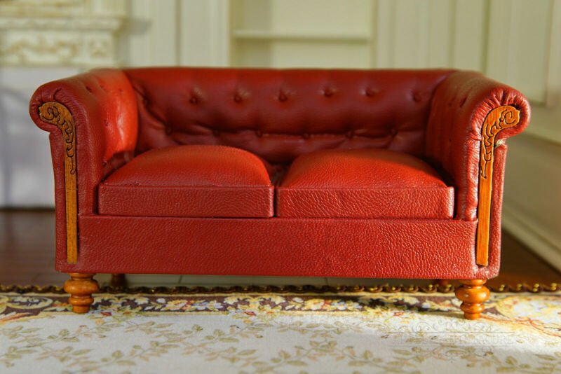 Dollhouse Sofa Double Sofa Well Made Red Deluxe Leather 1/12 Scale Furniture