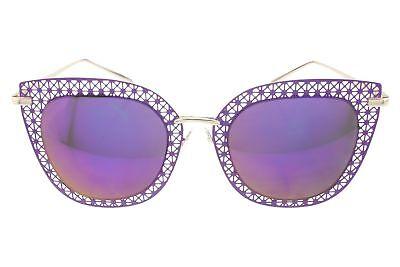 Womens Cat Eye Sunglasses Metal Mesh Lattice Purple Frame Purple Mirror Lens ()
