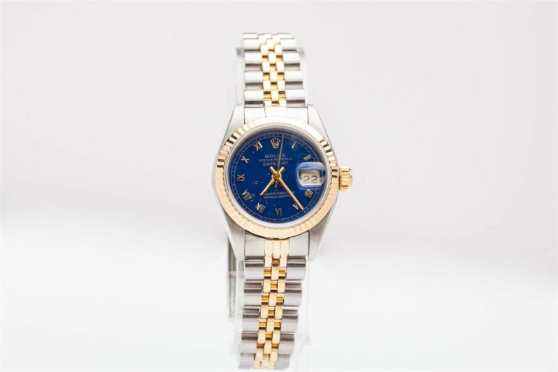 Estate $7000 Factory Blue Ladies Datejust 18k Gold Ss Qs Watch Minty & Wty Box