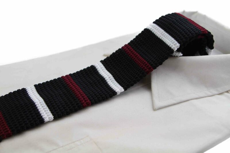 Knitted Black, White & Maroon Striped Patterned Neck Tie
