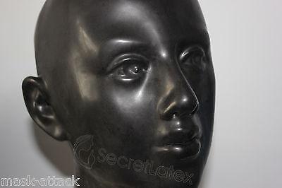 BLACK LATEX RUBBER HOOD FULL HEAD LACED COSPLAY FETISH DRESS WOMAN FEMALE (Female Latex Mask)
