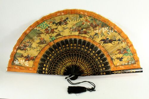 = Antique 19th C. Chinese Fan Hand Painted Silk Hunting Scene Lacquered Sticks