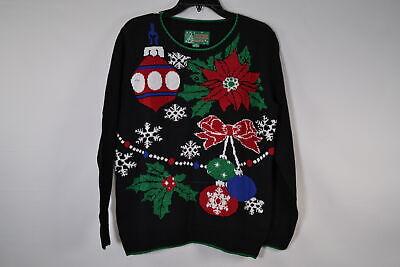 Ugly Christmas Sweater, Women's SYP5-1290BAMZ Xmas Decor Sweater, Black (Ugly Sweater Decorations)