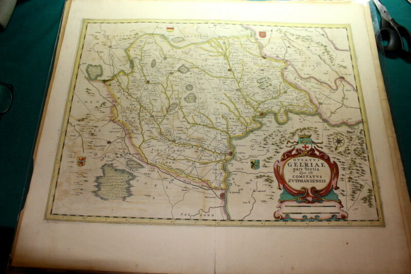 #A67,Handcolored Copper Engraving Map GELRIAE @1680-1720 Zutphaniensis