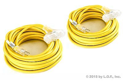 2 - Extension Cord 50' 3 Plug Lighted 12 Gauge 12/3 Outdoor Indoor Heavy Duty