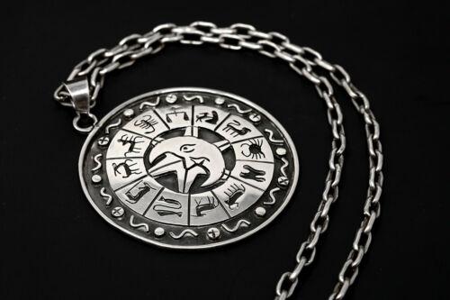 Vintage Alfredo Villasana Taxco Mexico Sterling Silver Zodiac Pendant & Chain