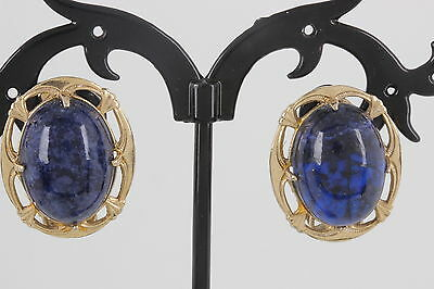 Lsp Costume (LSP 1/20 12K GOLD FILLED BLACK & BLUE STONE CLIP ON EARRINGS COSTUME SIGNED)