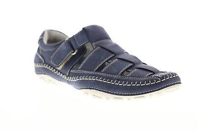 GBX Sentaur 135593 Mens Blue Suede Nubuck Strap Sport Sandals Shoes Suede Mens Sandals