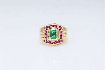 Designer $5000 3ct Colombian Emerald Ruby 18k Yellow Gold Band Ring 8g