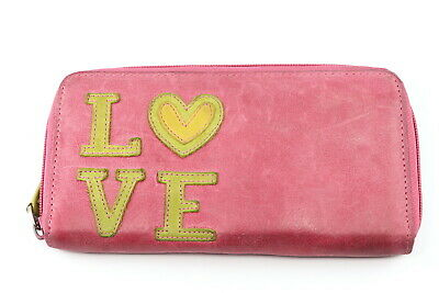 FOSSIL Love Stitched Letters Stressed Leather Zip Around Wallet