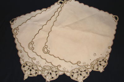 "4 Vintage Retro 10"" sq  Ecru Linen Fine Dining Napkins w/Sage Embroidery Details"