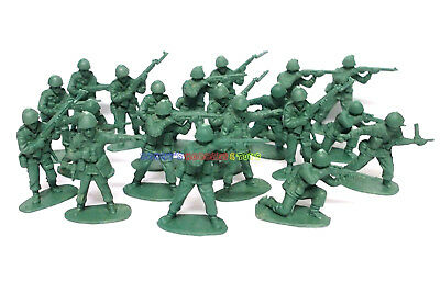 New Plastic Army Men 5cm 1/35 Figures (20pcs) Military Set Toy Soldier - Green
