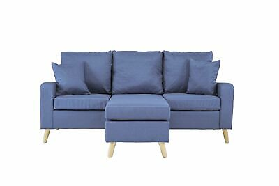 Small Space Sectional Sofa L-Shape Couch Linen Sofa Configurable Chaise Blue