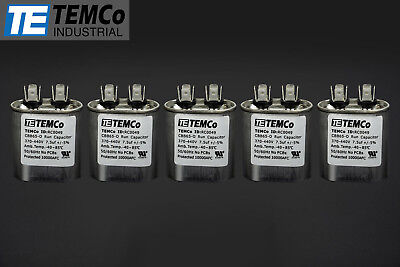 Temco 7.5 Mfd Uf Run Capacitor 370440 Vac Volts 5 Lot Ac Motor Hvac 7.5 Uf