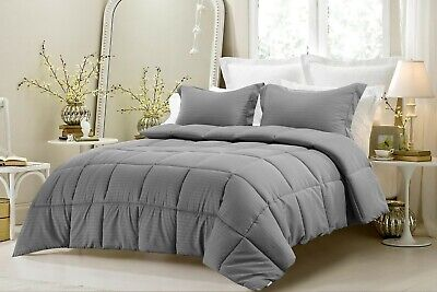 Best Gray Striped King Size Egyptian Cotton Down Alternative (Best Fiber Bed Topper)
