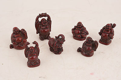 Cinnabar Type - Lot of 6 Buddhas & 1 Elephant Cinnabar Type Resin (WD) Figurines Statues Decor