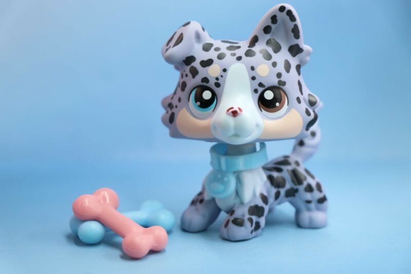Taylorlps lps Custom Dot Collie lps Collie Grey Spot dog With  Accessories Rare