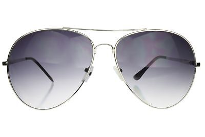 Pilot Sunglasses Extra Wide Frame 160mm XXL Large Oversized Silver Gray Lens Silver Gray Sunglasses