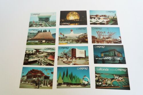 Set of 12 vintage 1967 Montreal Expo picture postcards by Plastichrome Canada