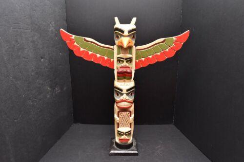 "20"" Northwest Coast Totem Pole First Nations Thunderbird hand Painted Tribal"