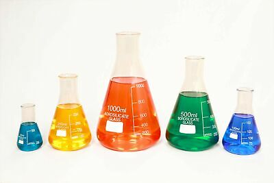 Glass Erlenmeyer Flask Set Of 5 Borosilicate Thick Low Form - 50ml 150ml 25...