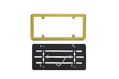 - License Plate Bumper Mounting Holder Adapter Bracket + GOLD Frame for ALFA-ROMEO