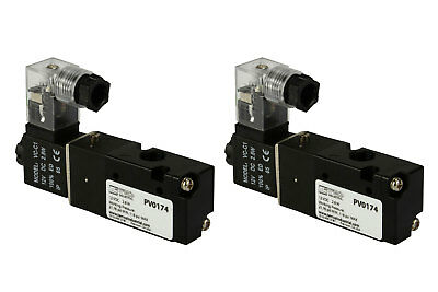 2x 12v Dc Solenoid Air Pneumatic Control Valve 3 Port 3 Way 2 Position 18 Npt
