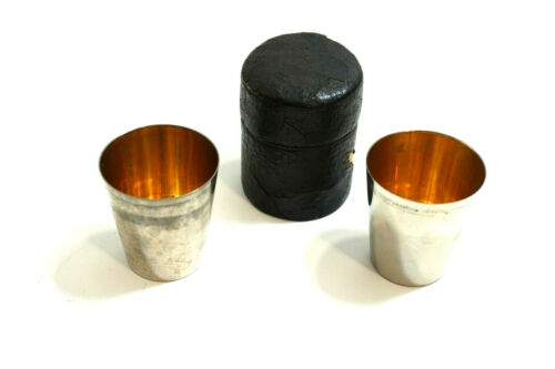 ANTIQUE RUMPP & SONS SILVER PLATE SHOT GLASSES IN LEATHER WRAPPED CASE C. 1910