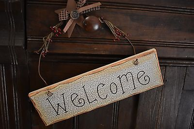 PRIMITIVE COUNTRY WELCOME SIGN RUSTY STAR BERRIES HOMESPUN HOME DECOR