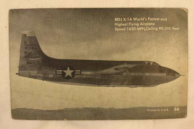 Vintage Arcade Exhibit Vending Photo Cards Postcards Bell X-1A Military Airplane