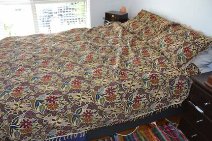 Middle Eastern woven coverlet with pillow cases
