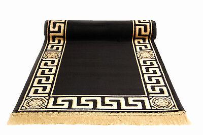 Teppich Läufer Klassisch Schwarz 67x400cm Kunst-Seide Mäander Medusa Rug versac