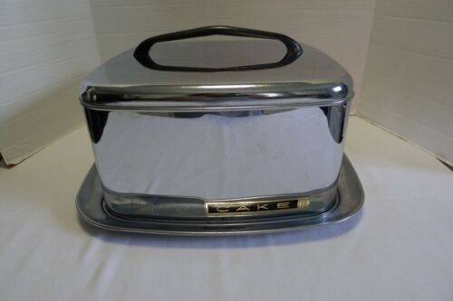 Vintage Lincoln Beautyware Square Cake Carrier Chrome Locking Lid
