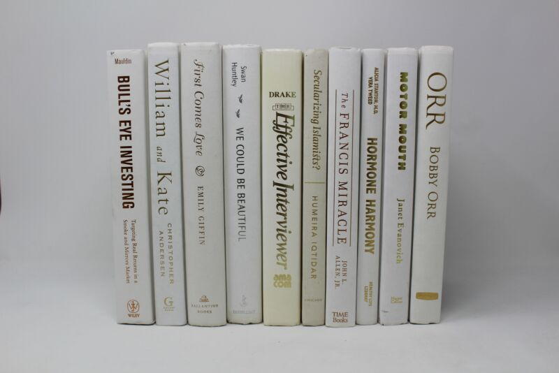 6 White Hardcover Books for Decor, Staging, Props Gold Silver Copper Lettering