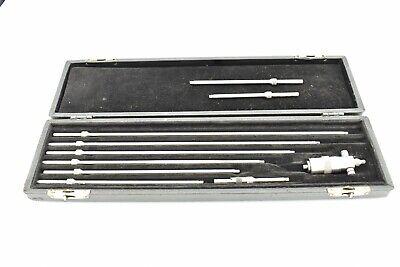 Starrett 124 Solid Rod Inside Micrometer Set 2-12 W Millers Falls Case