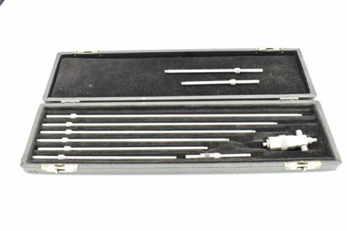 "Starrett 124 Solid Rod Inside Micrometer Set 2""-12"" w/ Millers Falls Case"