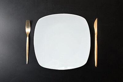 6er Set, Flache Teller, Essteller Dessertteller ca. 23cm eckig, weiß, Porzellan